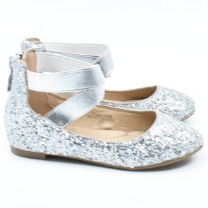 Little Girls Silver Sparkly Ballet Flats
